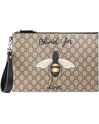 Gucci Bestiary Pouch With Bee - Natural