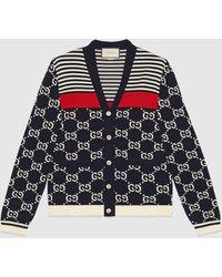 Gucci Cardigan aus Strick mit GG und Streifen - Blau