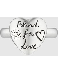 Gucci - グッチblind For Love シルバー リング - Lyst