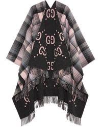 Gucci Reversible GG Poncho Coat - Gray