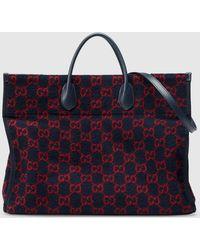Gucci Shopper aus Wolle mit GG Motiv - Blau