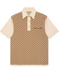 Gucci Poloshirt aus gg jacquard-jersey aus seide und baumwolle - Natur