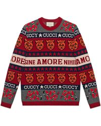 Gucci - Red And White Wool Jacquard Symbols Jumper - Lyst