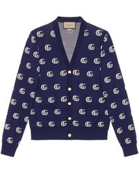 Gucci Strickcardigan aus GG Baumwolljacquard - Blau