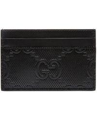 Gucci Porte-cartes GG embossé - Noir