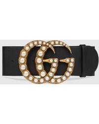 Gucci Breiter Ledergürtel mit perlenbesetzter GG-Schnalle - Schwarz