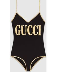 Gucci Lycra Swimsuit With Print - Black