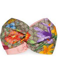 Gucci GG Flora Print Silk Headband - Natural