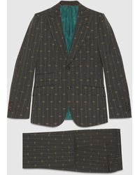 Gucci Heritage Anzug aus Wolle mit GG Streifen - Grau