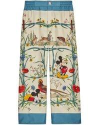 Gucci Pantalon de pyjama en soie à motif Disney x - Blanc