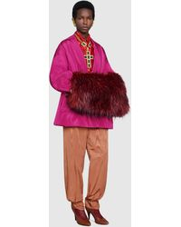 Gucci Bomberjacke aus Seide mit Schal - Pink