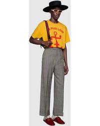 Gucci Übergroßes T Shirt mit Anker Print - Gelb