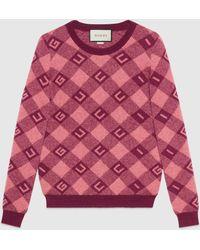 Gucci - グッチ チェック ジャガード セーター - Lyst