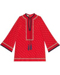 Gucci Caftán de seda con gg diagonal - Rojo