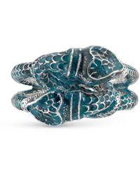 Gucci Garden Enamel Snakes Ring - Blue