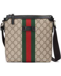 55924b85fd1 Gucci Black Rubber Ssima Leather Messenger Bag in Black for Men - Lyst