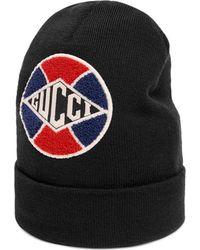 9764e7f58b5 Lyst - Gucci Knit Wool Hat in Black for Men