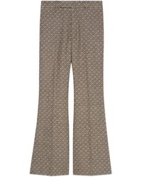 Gucci G Jacquard Wool Flare Trousers - Brown