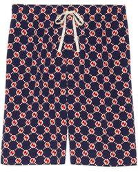 Gucci Short de crepé de seda con GG hexagonal - Azul