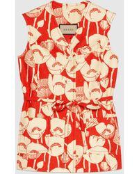 Gucci Weste aus Seide mit Mohnblumen-Print - Rot
