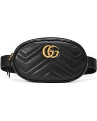 Gucci GG Marmont Small Matelasse Leather Belt Bag - Black