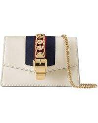Gucci Sylvie Leather Mini Chain Bag - White