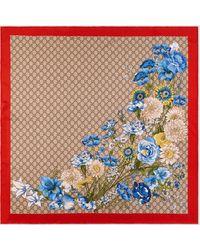 Gucci Halstuch aus Seide mit GG Blumenstrauß-Print - Natur