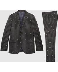Gucci Monaco Anzug aus karierter Wolle mit Bienen - Grau