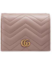 Gucci Calfskin Matelasse GG Marmont Card Holder Nude - Multicolour