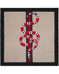 Gucci Web And Kingsnake Print GG Silk Scarf - Natural