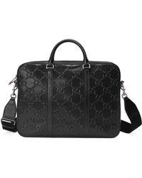 Gucci Aktentasche mit geprägtem GG - Schwarz