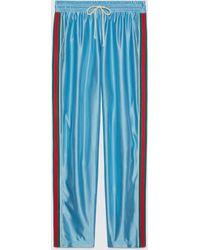 Gucci - グッチ公式ウェブ ストライプ付き シャイニージャージー ジョギングパンツライトブルーcolor_descriptionウェア - Lyst