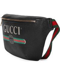 Gucci Print Leather Belt Bag - Black