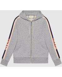Gucci Kapuzenpullover mit Streifen mit Reißverschluss - Grau