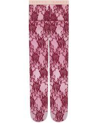 Gucci Medias de encaje floral - Rojo