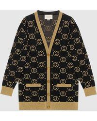 Gucci Cardigan aus Wolle mit GG Motiv - Schwarz