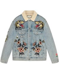 Gucci Oversize Denim Jacket With Patches - Blue