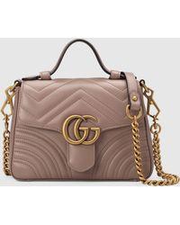 Gucci - 【公式】 (グッチ)〔GGマーモント〕ミニ トップハンドルバッグダスティピンク シェブロン レザーピンク - Lyst