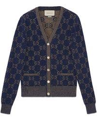 Gucci GG Cotton Jacquard Cardigan - Blue