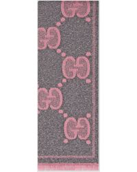 Gucci - 【公式】 (グッチ)GGウール ラメ ジャカード スカーフグレー/ピンク GGウールピンク - Lyst