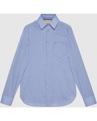 Gucci グッチGG付き ミニ チェック コットン テーラードシャツ - ブルー