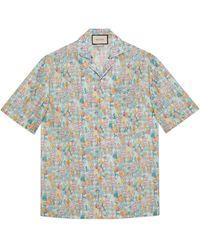 Gucci Bowling-Shirt mit Liberty-Print und Blumen - Weiß