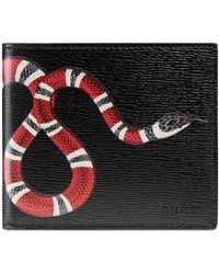 Gucci Brieftasche aus Leder mit Königsnatterprint - Schwarz