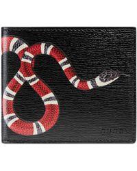Gucci Portafoglio in pelle con stampa serpente - Nero
