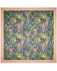 Gucci Silk Shawl With Feline Garden Print - Pink