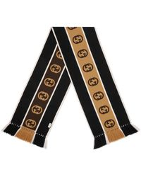 Gucci Scarf With Interlocking G Stripe - Black