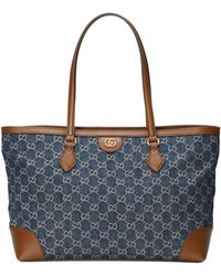 Gucci Cabas Ophidia GG taille moyenne - Bleu