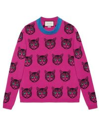 09a171707b5 Lyst - Gucci Angry Cat Intarsia Knitted Jumper