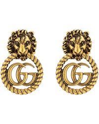 Gucci Boucles d'oreille tête de lion avec Double G - Multicolore