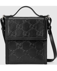 Gucci グッチ公式GGエンボス メッセンジャーバッグブラック レザーcolor_descriptionレザー